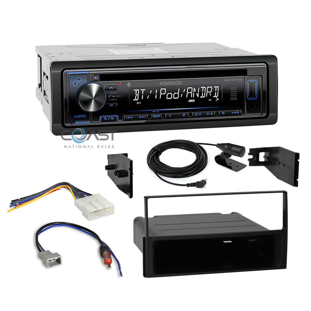 Kenwood Radio Single Din Bluetooth Dash Kit Harness For 2007-2012 Nissan Sentra