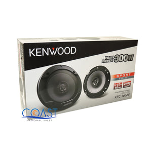 "Kenwood KFC-1666S Car Audio 6-1/2"" 2-Way 300W Sport Series Flush Mount Speakers"