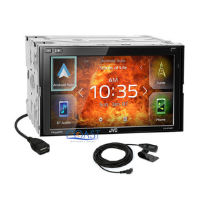 JVC Carplay Android Auto Stereo Silver Dash Kit Harness for Ford Mercury Mazda