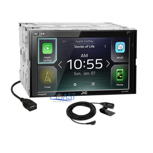 JVC Carplay Waze Bluetooth Stereo Silver Dash Kit Harness for 08-11 Ford Focus