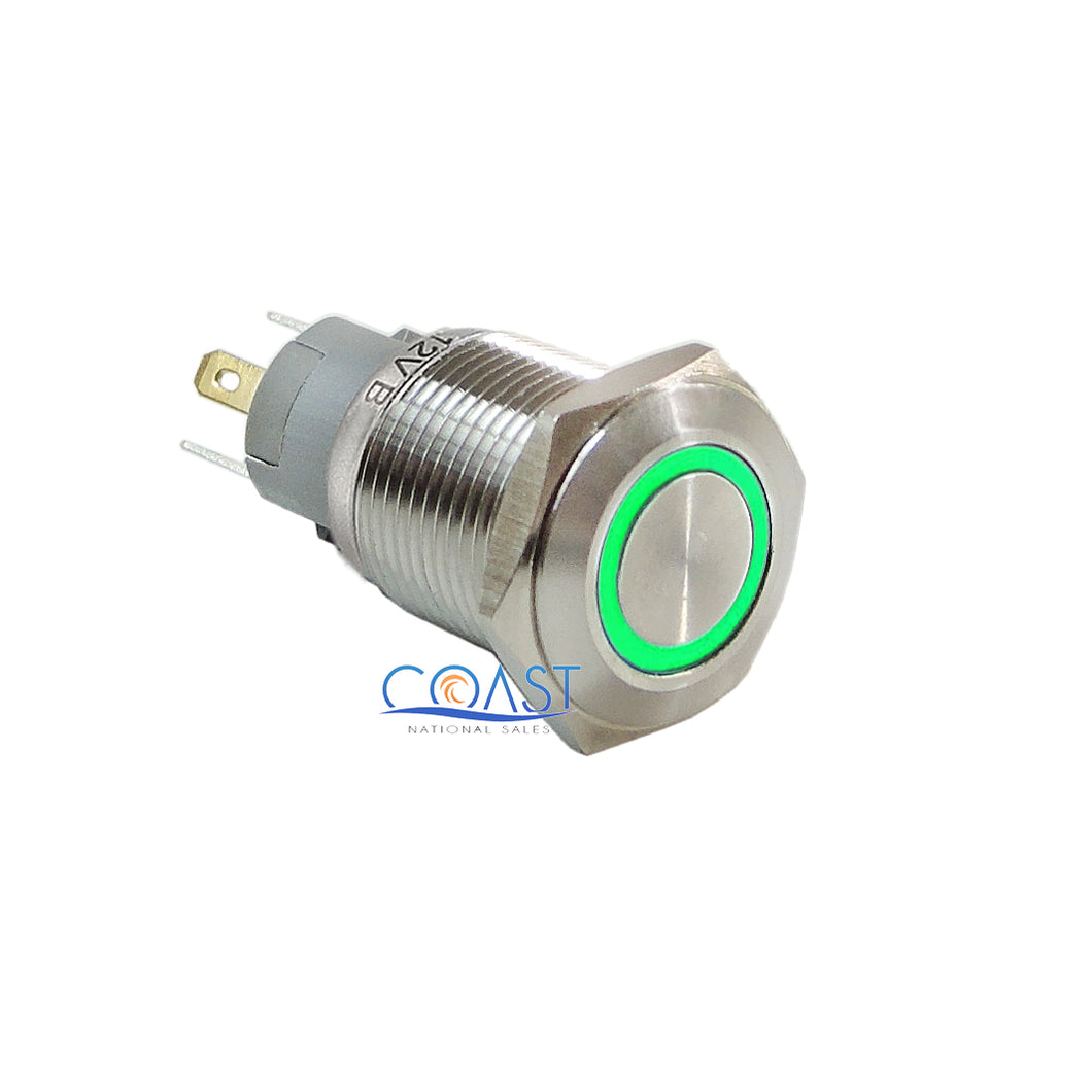 Durable 12V 16mm Car Push Button Green Angel Eye LED Metal Latching Switch