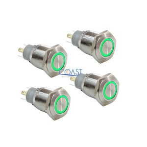 4X Durable 12V 16mm Car Push Button Green Angel Eye LED Metal Latching Switch