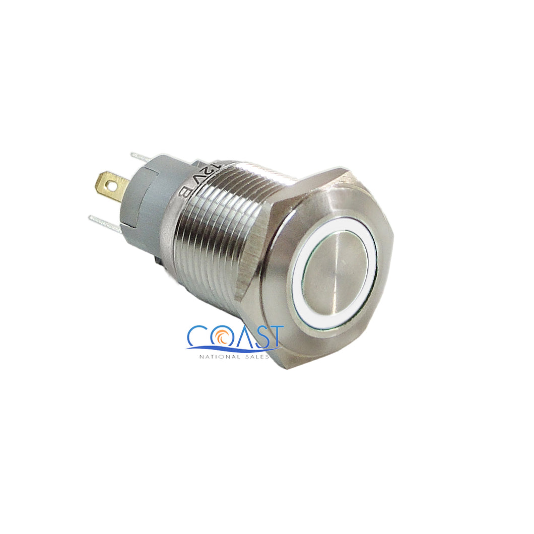 Durable 12V 16mm Car Push Button White Angel Eye LED Metal Latching Switch