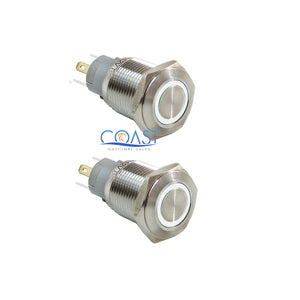 2X Durable 12V Led 16mm Car Momentary Push Button White Angel Eye Metal  Switch