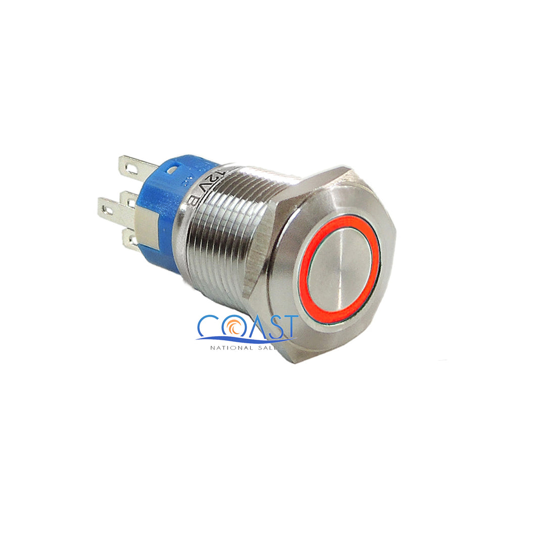 Durable 12V Led 19mm Car Momentary Push Button Red Angel Eye Metal Switch