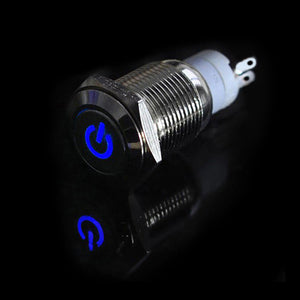 Car Home Heavy Duty 16mm Blue LED Stainless Steel On/Off Toggle Power Switch