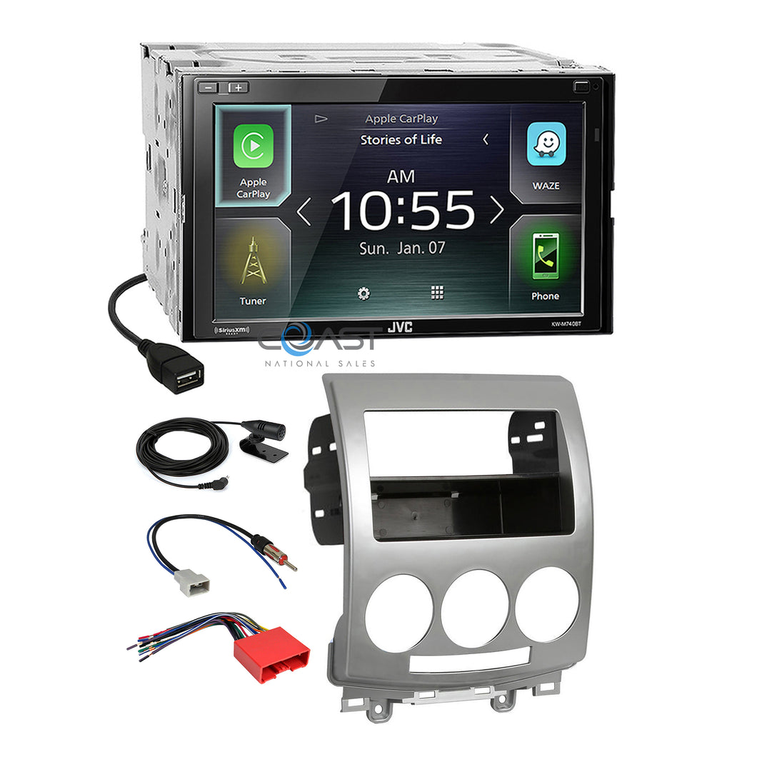 JVC USB Carplay Sirius Bluetooth Stereo Dash Kit Harness for 2006-2010 Mazda 5