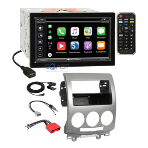 Soundstream 2018 Carplay Bluetooth Stereo Dash Kit Harness for 2006-10 Mazda 5