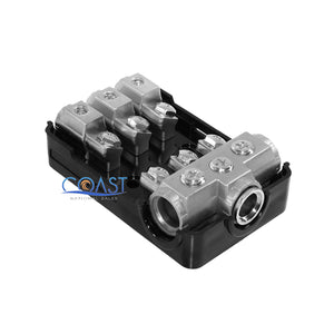 Stereo Platinum ANL Distribution Block (3) 0/2/4 In & (3) 4/8 Ga Out w/Adapters