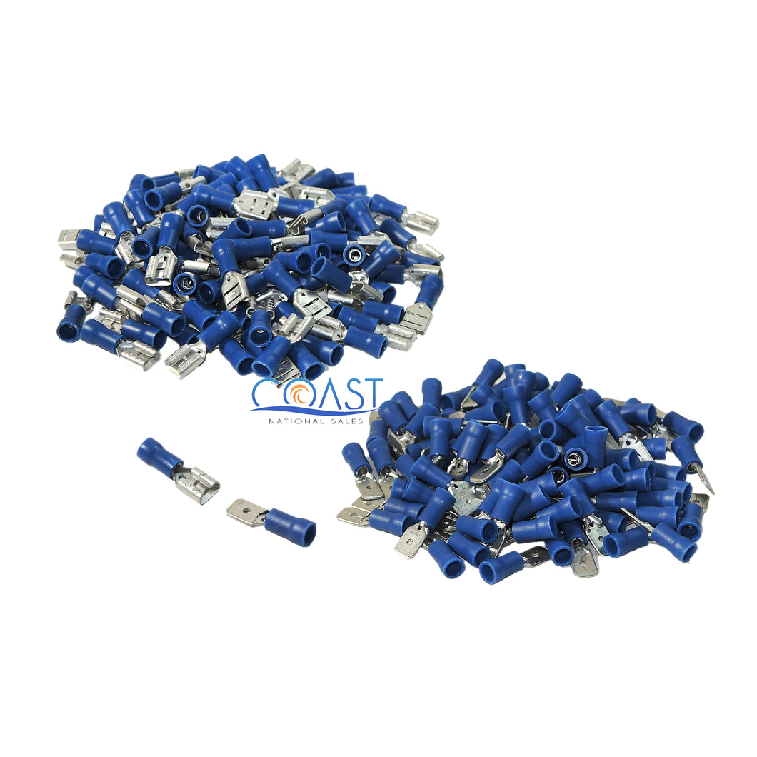 Car Home Blue Male & Female Quick Disconnector Terminal 16-14 Gauge - 200pcs