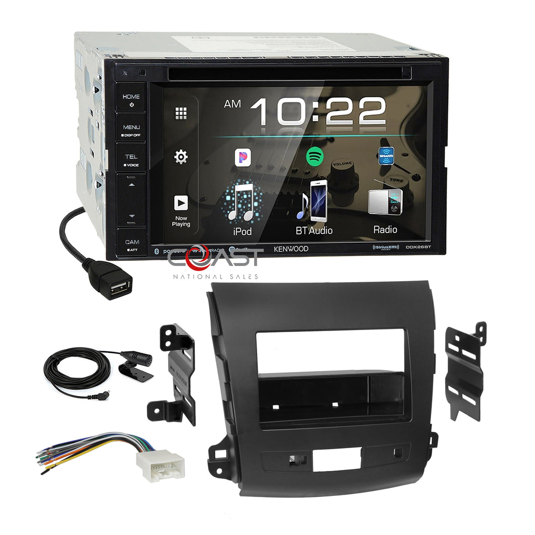 Kenwood DVD Spotify Sirius Stereo Dash Kit Harness for 07+ Mitsubishi Outlander