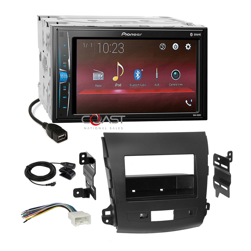 Pioneer 2018 USB Bluetooth 2Din Dash Kit Harness for 07-13 Mitsubishi Outlander