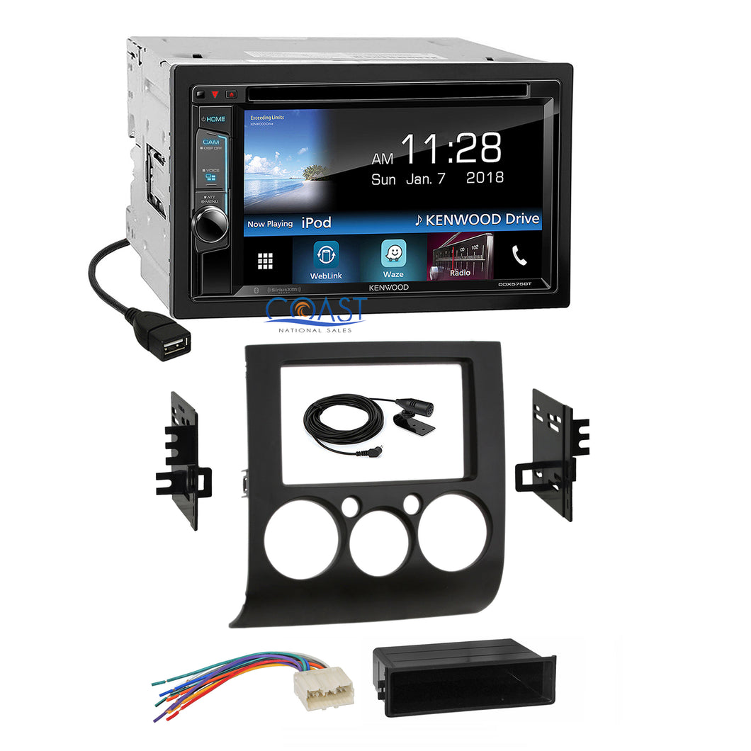 Kenwood DVD SiriusXm Waze Stereo Dash Kit Harness for 2004-12 Mitsubishi Galant
