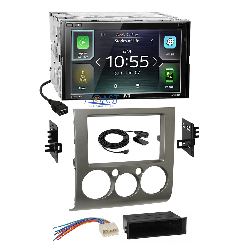 JVC 2018 Carplay Waze Stereo Silver Dash Kit Harness for 04+ Mitsubishi Galant