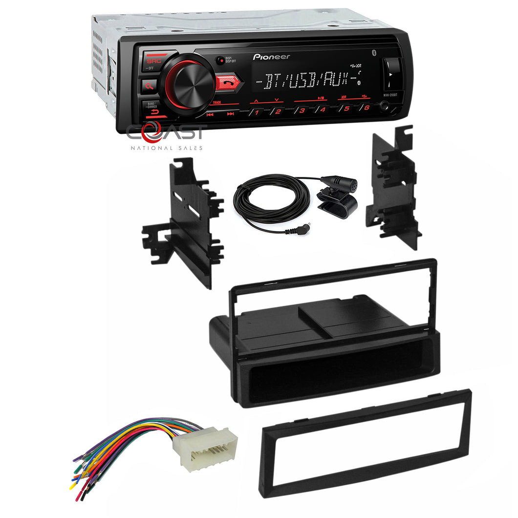 Pioneer Car Radio Bluetooth Single Din Dash Kit Harness for 2004-12 Kia Hyundai
