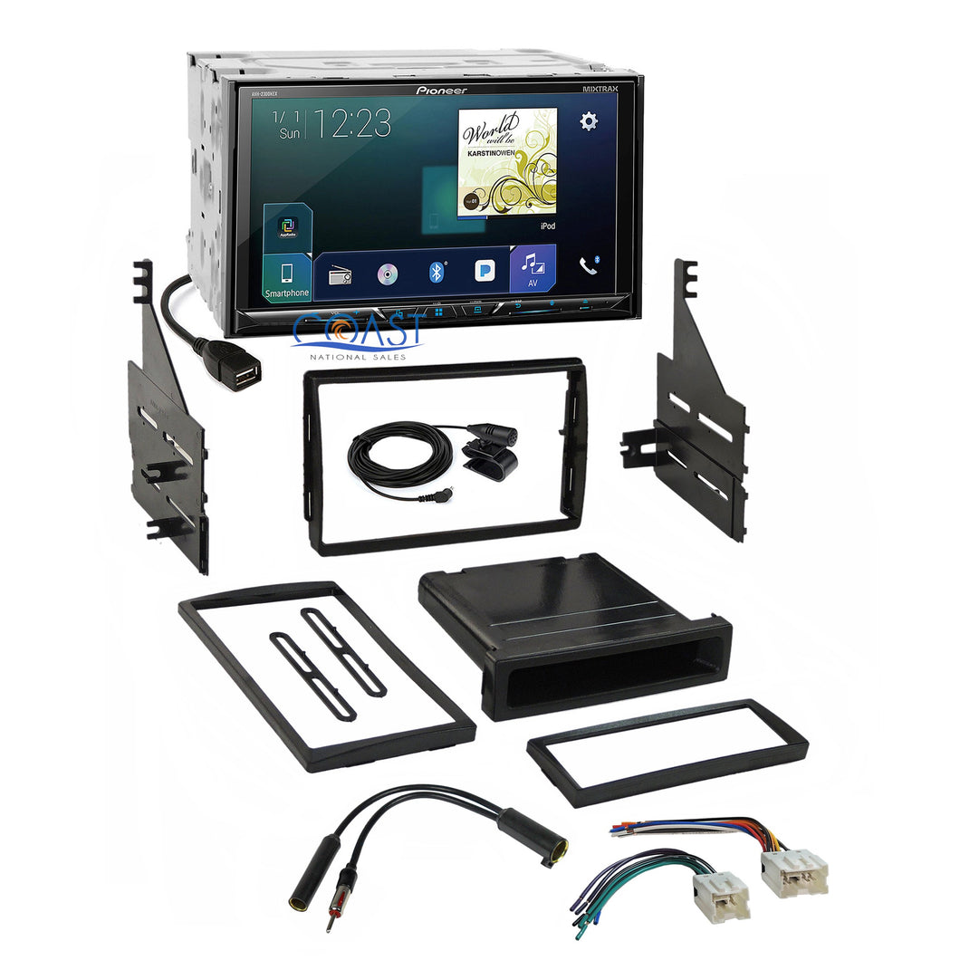 Pioneer Carplay Bluetooth Stereo 2 Din Dash Kit Harness for 05-06 Nissan Altima