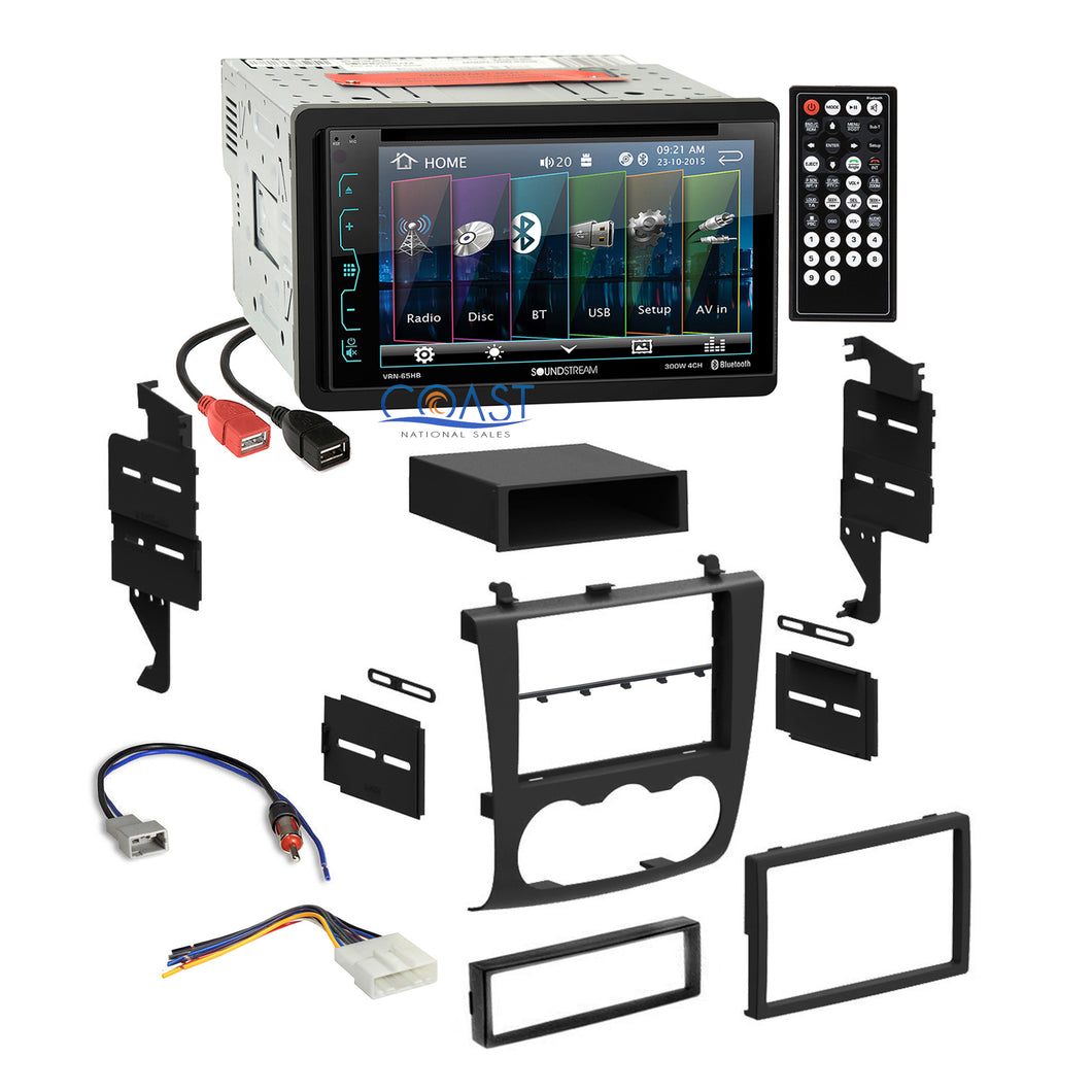 Soundstream DVD USB Bluetooth Stereo Dash Kit Harness for 2007-11 Nissan Altima