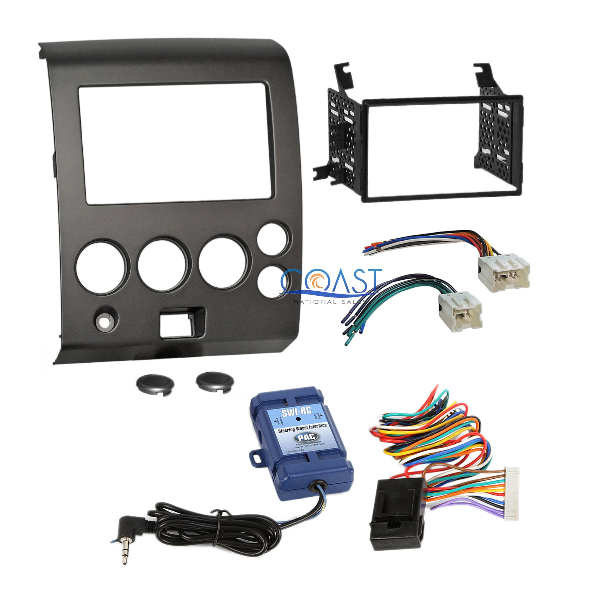 Car Radio Stereo Dash Kit & Steering Wheel Harness for 04+ Nissan Armada on