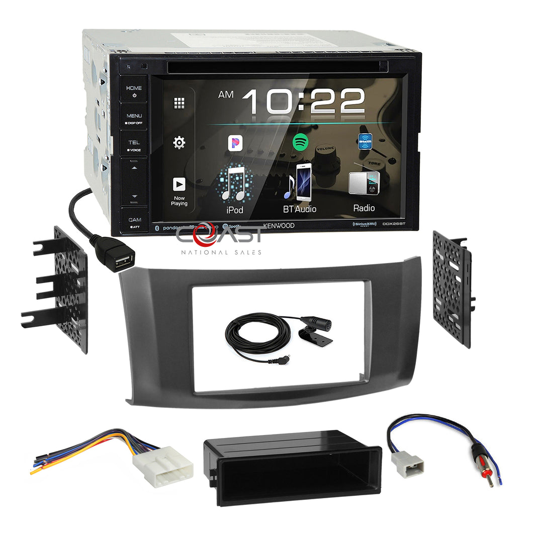Kenwood DVD Spotify Stereo 2Din Gray Dash Kit Harness for 13-up Nissan Sentra