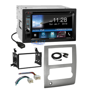 Kenwood DVD Sirius Waze Stereo Silver Dash Kit Harness for 2008-13 Nissan Titan