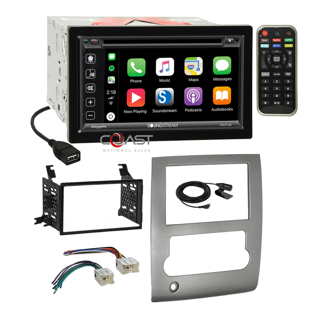 Soundstream 2018 DVD Carplay Stereo Sil Dash Kit Harness for 08-13 Nissan Titan
