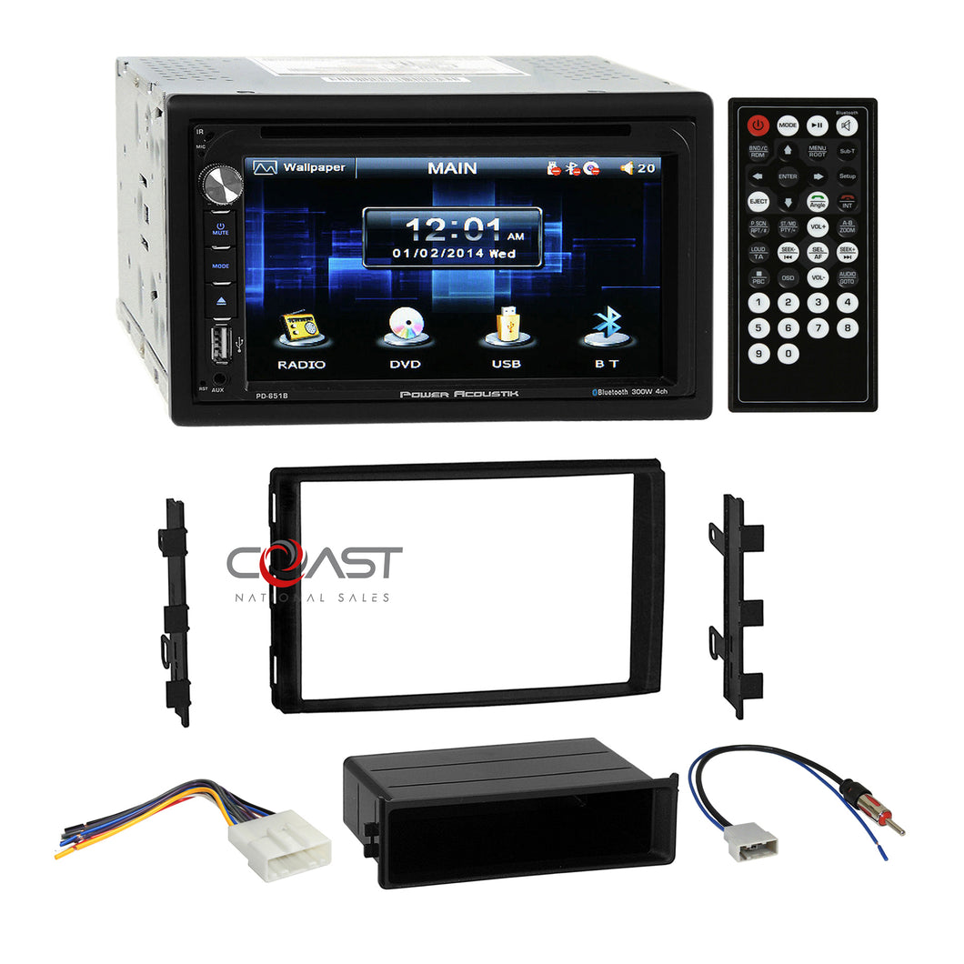 Power Acoustik DVD Bluetooth Stereo Dash Kit Harness for Nissan Frontier Titan