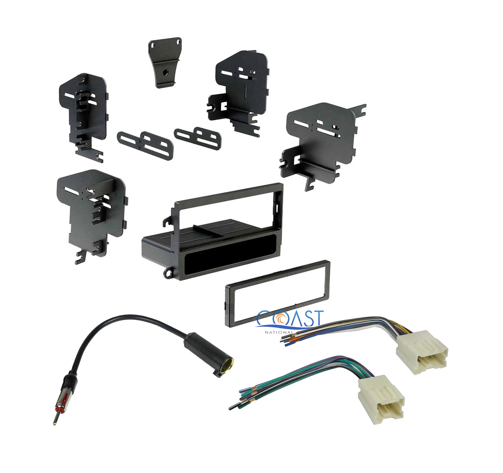 Single DIN Install Stereo Dash Kit Antenna Harness for Nissan 1995-2004