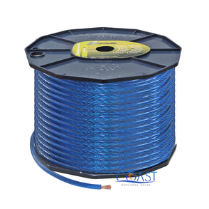OFC Full Copper Fine Stranded 8 Gauge AWG Blue Power Ground Wire Cable - 250ft