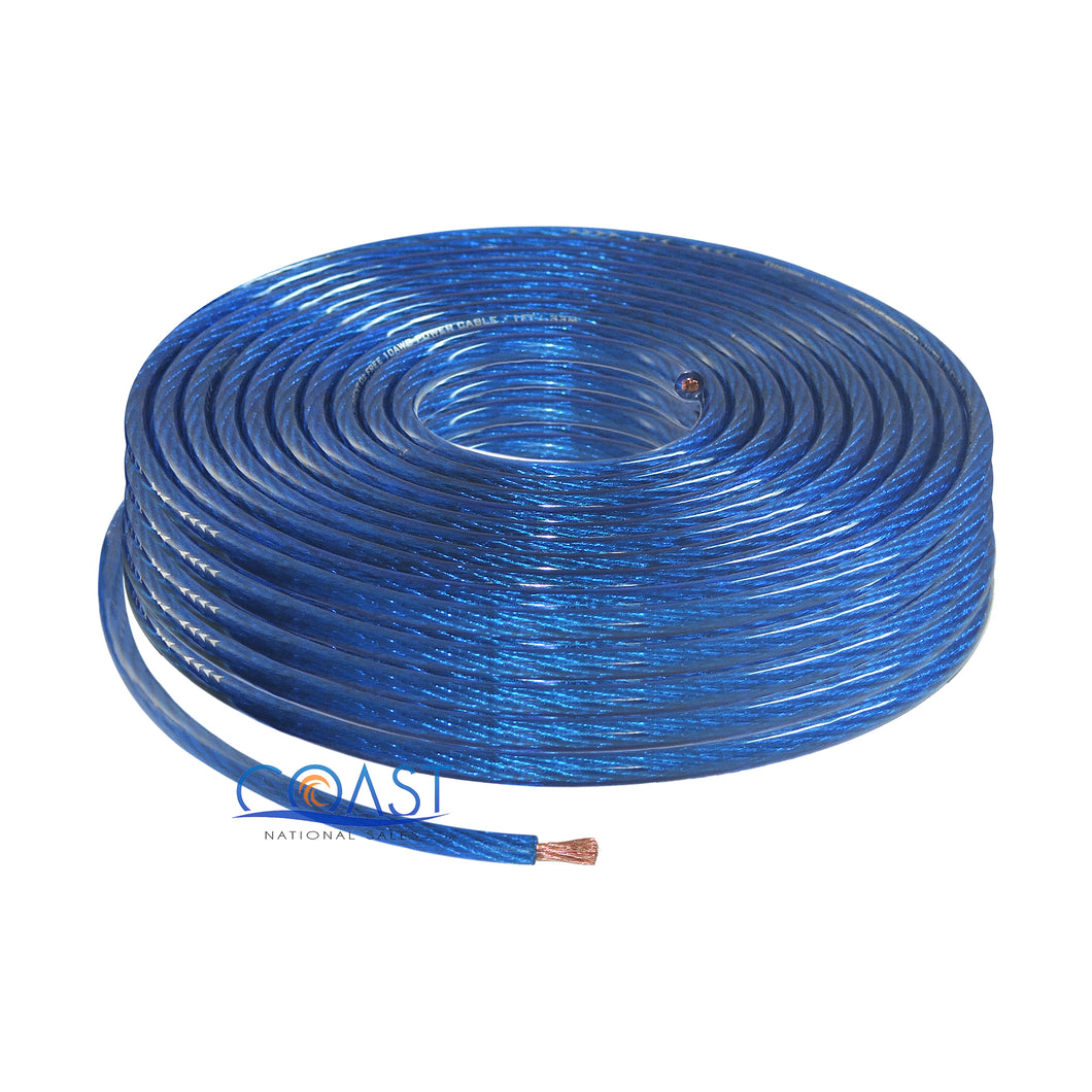 OFC Full Copper Stranded 10 Gauge AWG Blue Power Ground Wire Cable - 50ft
