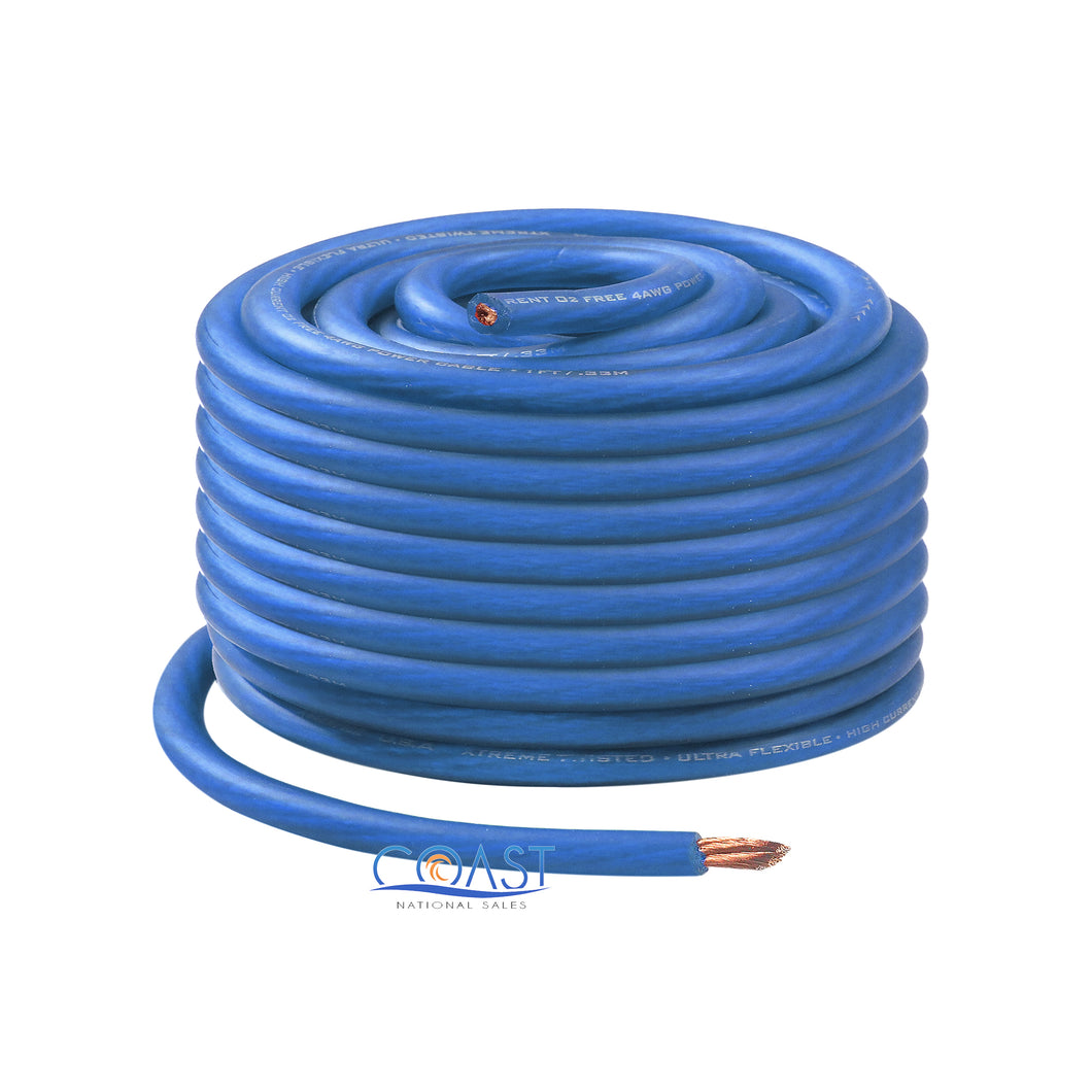 OFC Copper 665 Strand Count 8 Gauge AWG Blue Power Ground Wire Cable - 50ft