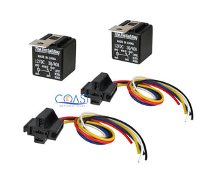 2X Car Audio Bosche Style Relay with Wire Harness Sockets RL3040 12V 30/40 AMP