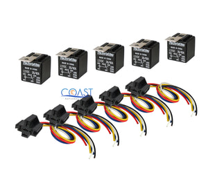 5X Car Audio Bosche Style Relay with Wire Harness Sockets RL3040 12V 30/40 AMP