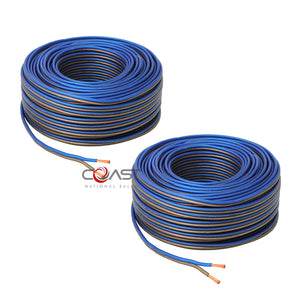 2X Car Home Audio Flex 50 Ft True 16 Gauge AWG CCA Speaker Wire Cable Spool