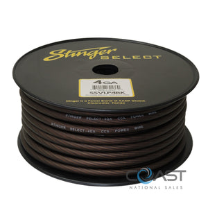 Stinger 4 Gauge Matte Black Power Ground Wire Car Home Audio SSVLP4BK - 50 Ft