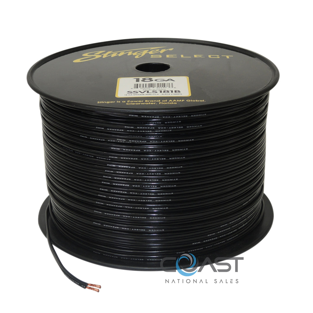 Stinger 18 Gauge Black Speaker Wire Car Home Audio SSVLS181B - 25 FT.