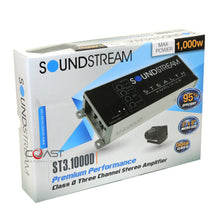 Load image into Gallery viewer, Soundstream ST3.1000D 1000W 3 Channel Stealth Series Class D Stereo Amplifier