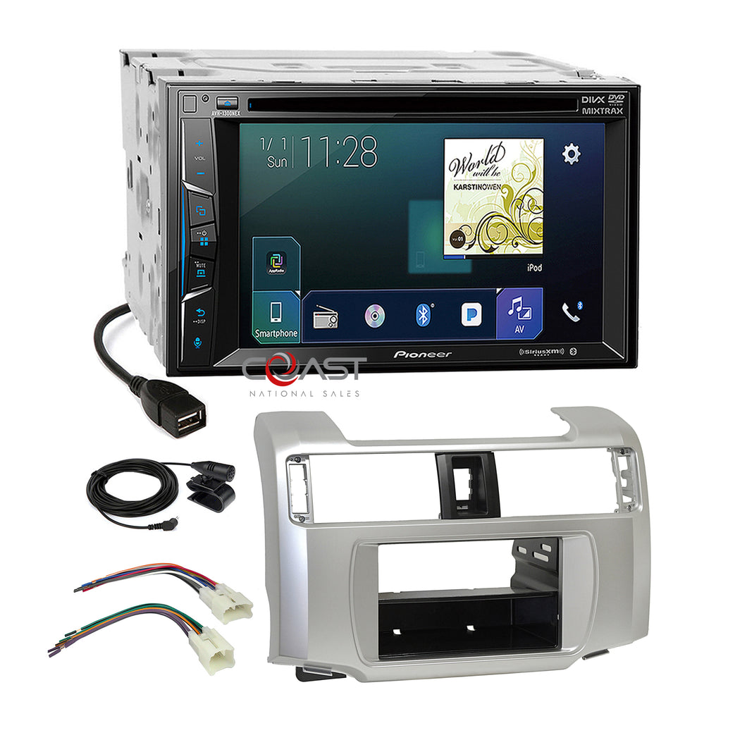 Pioneer 2018 USB Bluetooth Radio 2Din Dash Kit Harness for 10-13 Toyota 4Runner