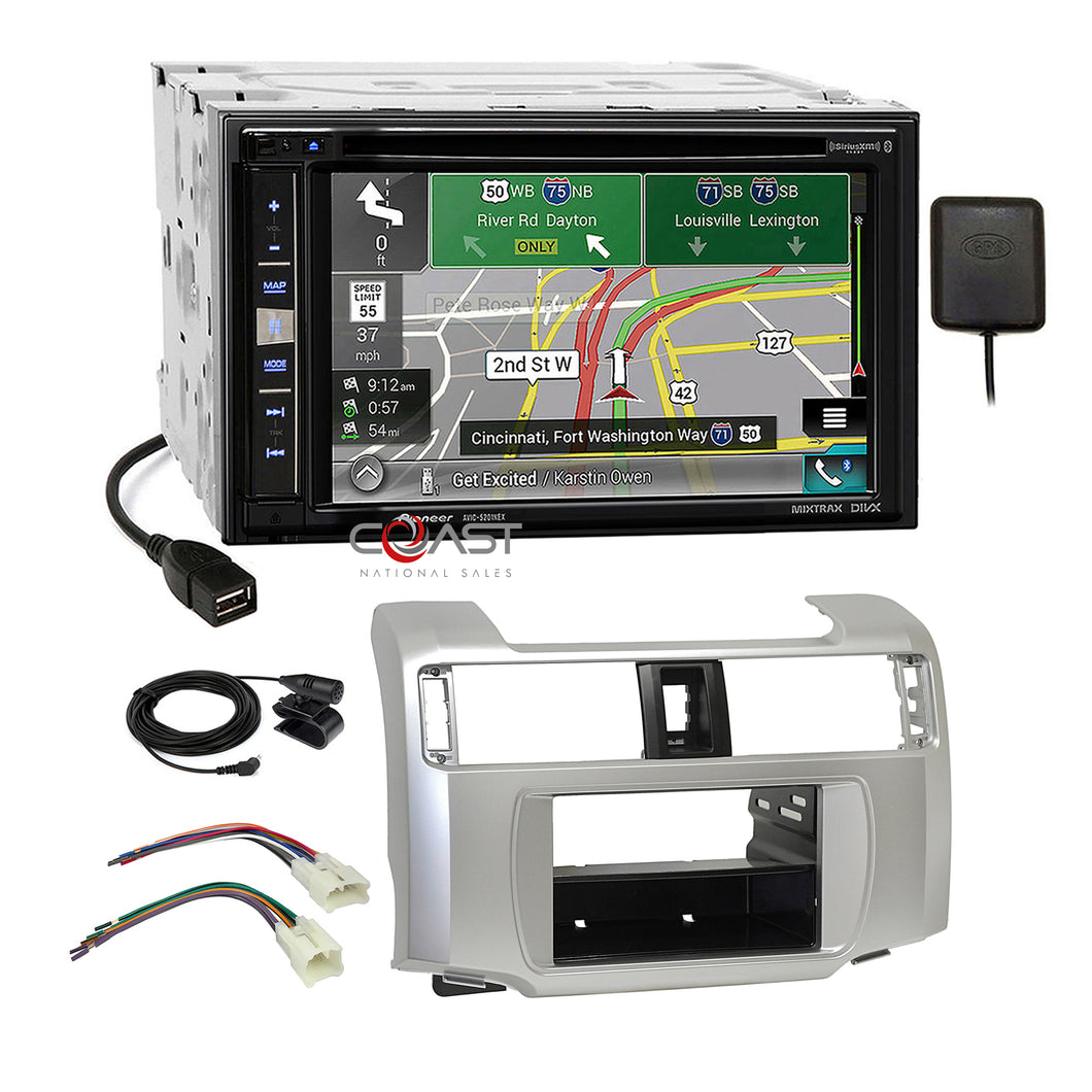Pioneer DVD Carplay Sirius GPS Stereo Dash Kit Harness for 10-13 Toyota 4Runner