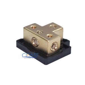 Gold-Plated Terminal Block w/ One 0/2 Gauge In & Three 4/8 Gauge Out & Adapters