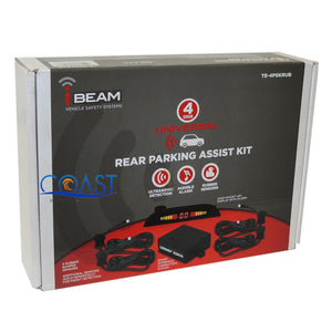 Ibeam TE-4PSKRUB Universal Rear Parking Assist Kit LED Detect 4 Rubber Sensors