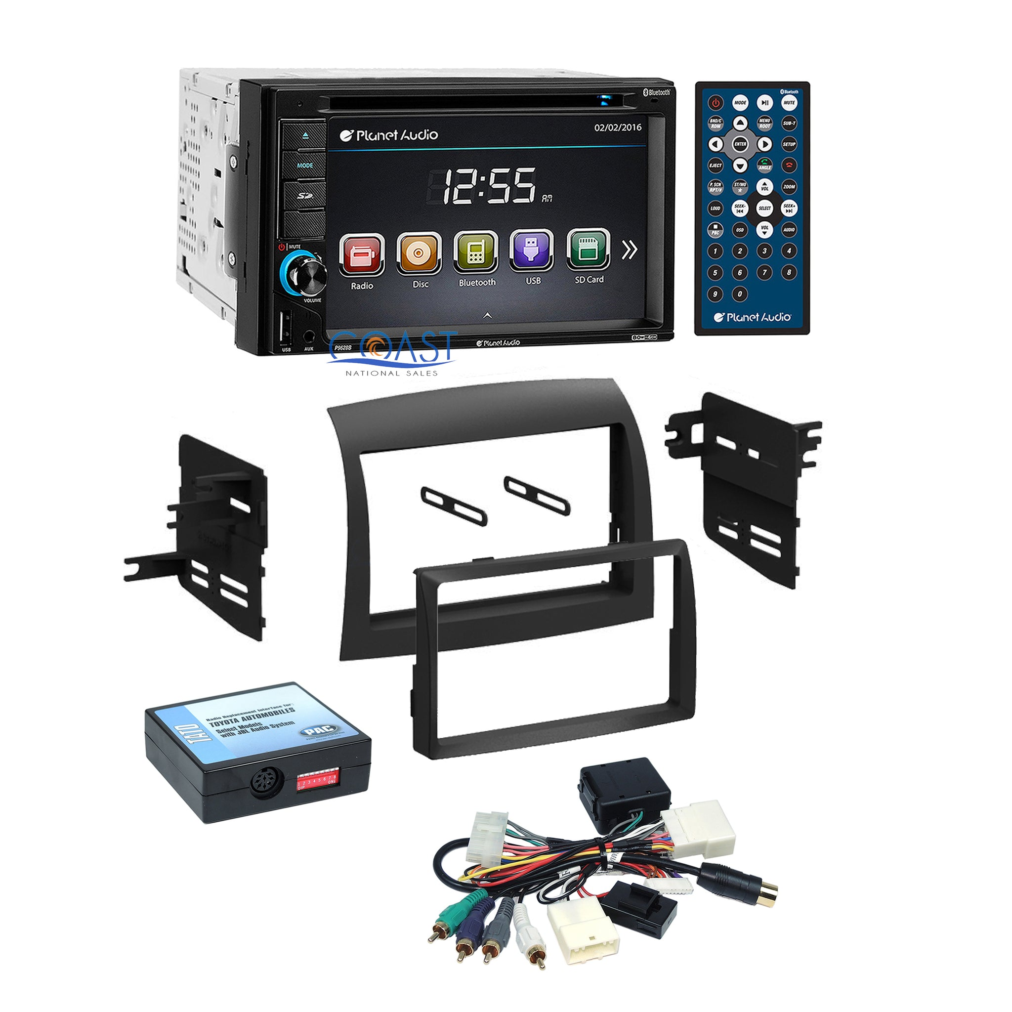 Planet Audio DVD Bluetooth Stereo Dash Kit JBL Harness for