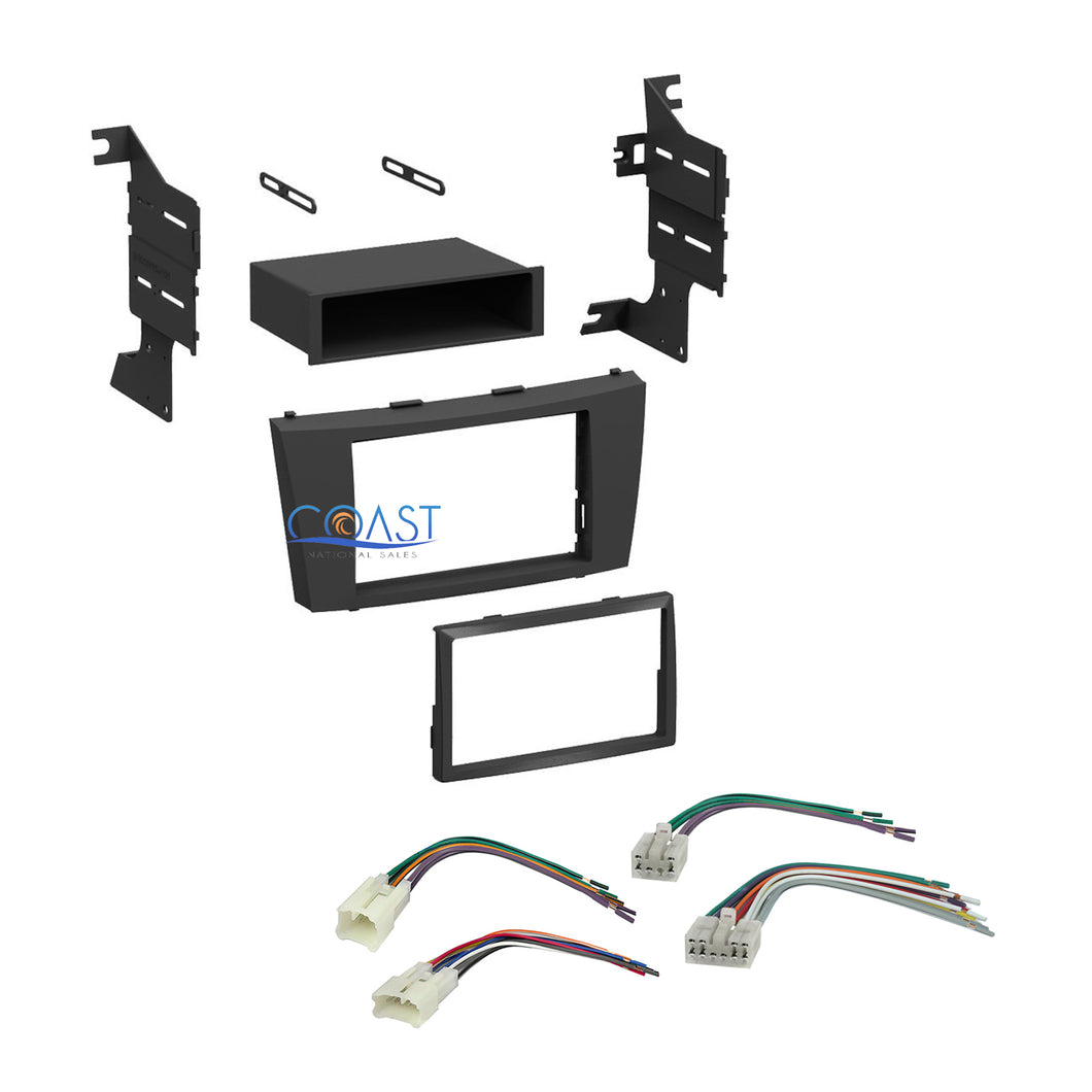 Single Double DIN Car Stereo Dash Kit Harness Combo for 2007-2012 Toyota Camry