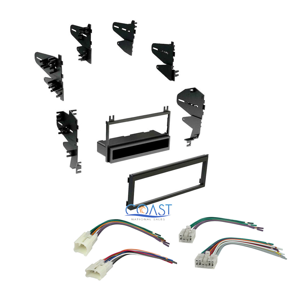 Car Stereo Single Din Dash Kit + Wire Wiring Harness Combo for 1987-2004 Toyota