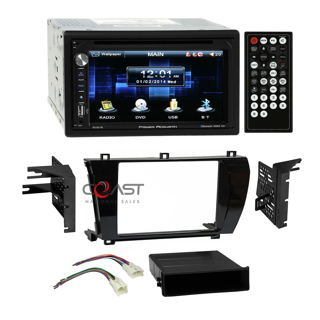 Power Acoustik DVD USB Bluetooth Dash Kit Harness for 2014-2015 Toyota Corolla