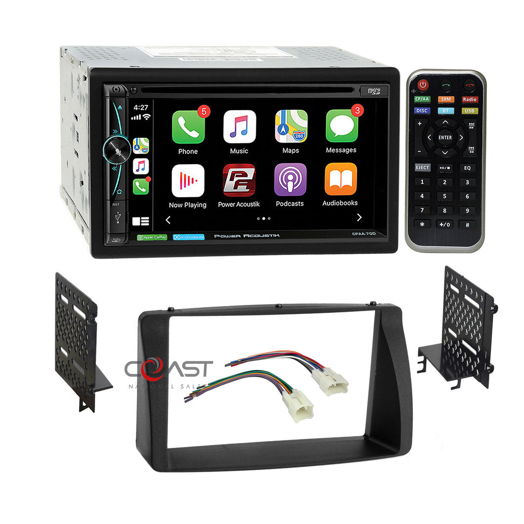 Power Acoustik DVD USB Carplay Stereo Dash Kit Harness for 03-08 Toyota Corolla