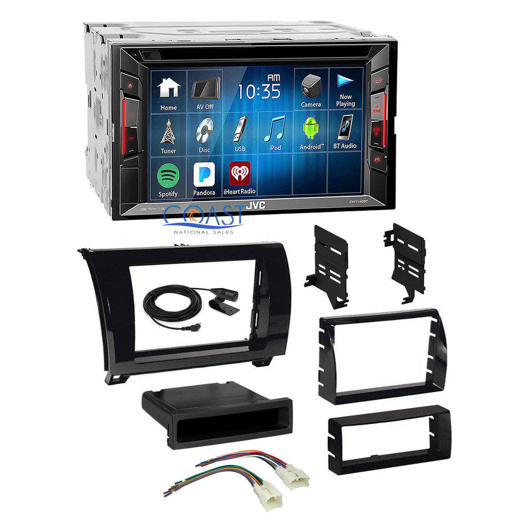 JVC DVD Bluetooth Stereo Gloss Dash Kit Harness for 2007+ Toyota Tundra Sequoia