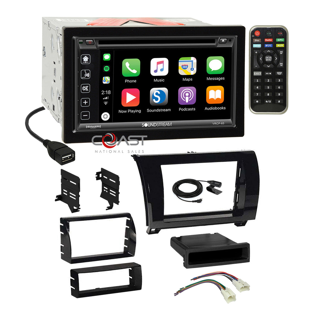 Soundstream DVD Carplay Stereo Gloss Dash Kit Harness for Toyota Tundra Sequoia