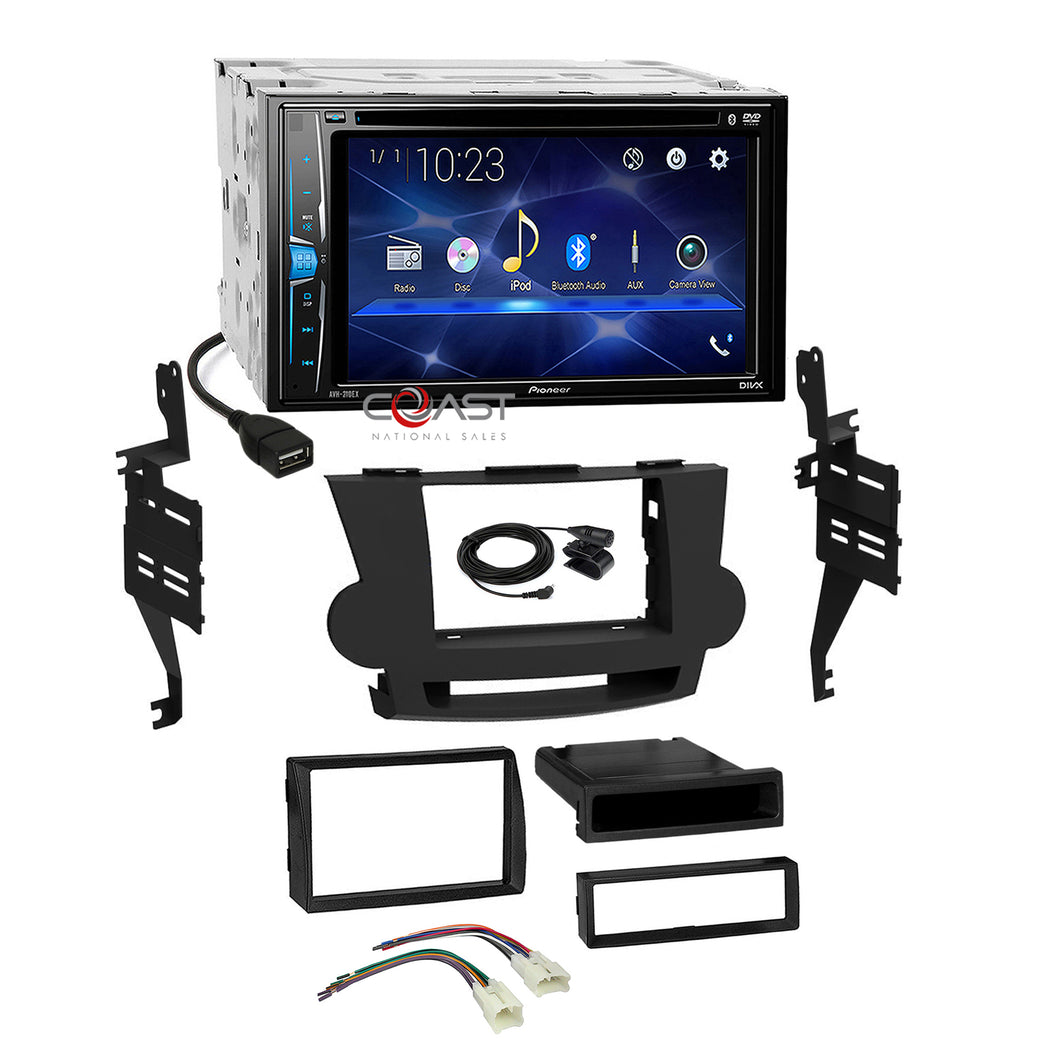 Pioneer 2018 DVD Bluetooth 2 Din Dash Kit Harness for 2008-13 Toyota Highlander