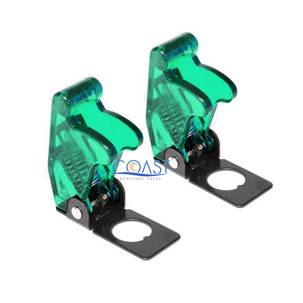 2X Car Marine Industrial Spring-Loaded Toggle Switch Safety Cover - Clear Green