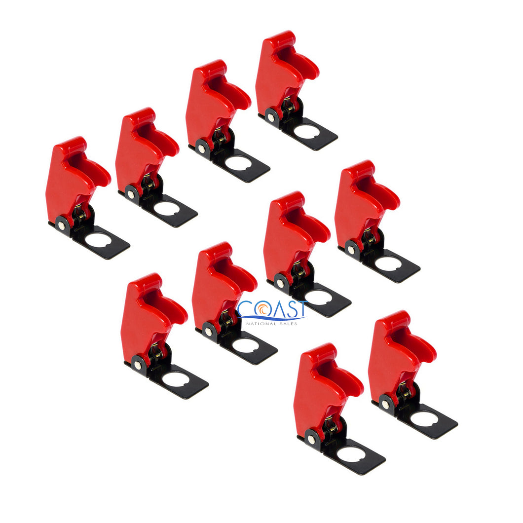 10X Car Marine Industrial Spring-Loaded Toggle Switch Safety Cover - Red